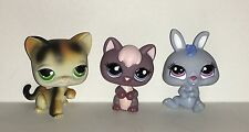 LIttest Pet Shop #2285 Purple KITTY, #27 CAILCO KITTY, #3577 Blue BUNNY