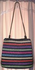 Wheat Straw Woven Rainbow Multi Color Stripes Handbag Shouler Bag Purse~Beads