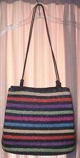 Wheat Straw Woven Rainbow Multi Color Stripes Handbag Shouler Bag Purse~Beads