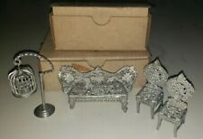 Antique Miniature Wire Birdcage Stand Dollhouse Metal couch chairs with boxes