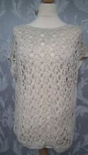 Natural Coloured Crocheted Front Short Sleeved Top from George size 12