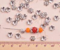 100pcs 8mm Tibetan Silver Bead Caps Flower Alloy Metal Beads Jewelry Findings