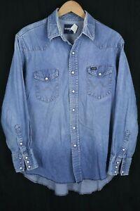 VTG Wrangler Mens sz Large Blue Denim Distressed Pearl Snap Long Sleeve Shirt