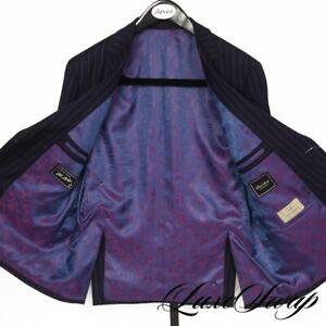 WILD BIG GUYS Elevee Bespoke Custom Made Royal Blue Pink Radiant Stripe Suit NR