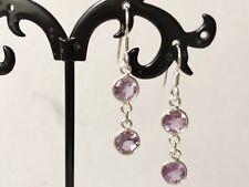 925 Sterling Silver Amethyst Drop Earrings 2 Double Round Circle Gemstones Disc