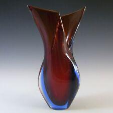 LABELLED Murano/Venetian Red & Blue Sommerso Glass Vase