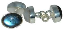 Sterling 925 SILVER Chain Cufflinks Double Moonstone Labradorite 4 Gem CuffLink