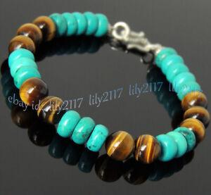 8mm Yellow Tiger's Eye Round Beads &5x8mm Blue Turquoise Gemstone Bracelet 7.5''