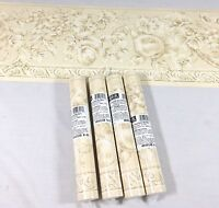 York Wallpaper Border Fruit Floral Pear Grape Architectural Sand Tan 4 Roll Chic