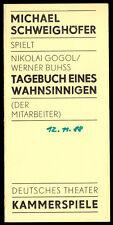 Theaterprogramm, Kammerspiele des DT Berlin, Gogol, Tagebuch eines ..., 1988