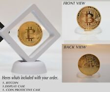 Bitcoin Gold Plated Physical Commemorative coin with White display Case