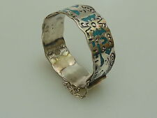ARMREIF SILBER TÜRKIS MEXICO  VINTAGE HANDARBEIT MEXICAN BANGLE TURQUOISE