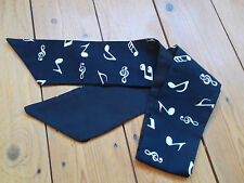 HEAD SCARF HAIR BAND MUSICAL NOTES BLACK WHITE BUNNY BOW  ROCKABILLY NECK TIE