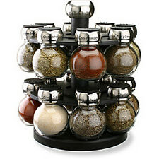 Spice Rack And Jars Glass Spices Set Herbs Carousel Kitchen 16 Jars Revolving