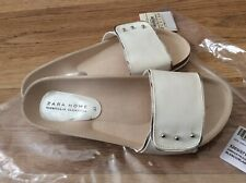 Zara Home Women White Slippers Sandals Flats Size Uk 4 EUR 37 BNWT!