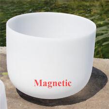 "Magnetic 440HZ F# Thymus Chakra White Frosted Quartz Crystal Singing Bowl 8"""