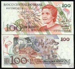 BRAZIL 100 CR NOVOS 1989 P-220 B x 100 Pcs Lot Bundle CRANE READING DANCING UNC
