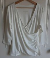 NWOT Soft Surroundings Womens Off White Shapely Surplice Top Shirt Tee Size XL