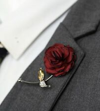 Red Rose Flower Lapel Pin Red Enamel Pin Men Women Wedding Suit Pin Brooch Pin