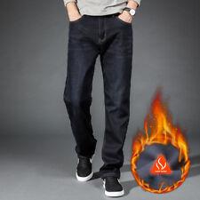 Men's winter thick Thermal jeans fleece lined Denim Pants cotton Warm Trousers