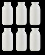 Set of 6 Mini Porcelain White Milk Bottles