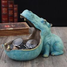 Hippo Animal Statue Desk Home Decor Storage Figurine Sculpture Top Art Ornament