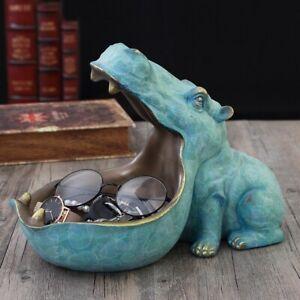 Hippo Animal Statue Desk Home Decor Storage Figurine Sculpture Top Art Orna New