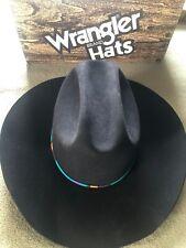 Men's Wrangler Cowboy Black Hat 4X Beaver Lamb Skin Sz 7&5/8 th in Original Box