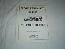 AVCO New Idea 243 manure spreader parts catalog manual