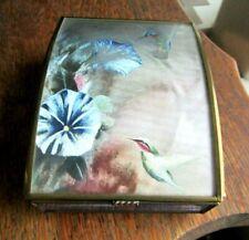 Vintage Domed Lid Music Box Iridescent Hummingbirds & Flowers Blue Glass Sides
