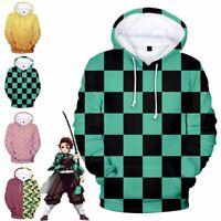 Unisex Anime Hoodie Demon Slayer Kamado Tanjirou Cosplay Zip Jacket Sweatshirt