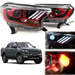 Fit 15+ Ford Ranger F-Sport Facelift Ute Head Lamp Lights Projector LED Red Eyes