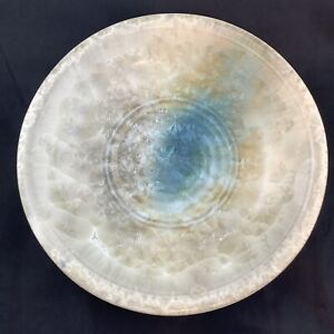 Crystalline Art Pottery Bowl Signed Campbell Cream/blue/gold Large Display Bowl