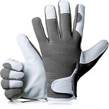 GardenersDream Ladies / Mens Slim Fit Leather Gardening Work Gloves - Grey
