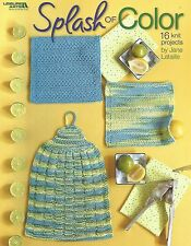 601404Splash of Color Dishcloths Potholders Dishtowel Knit Knitting Patterns NEW