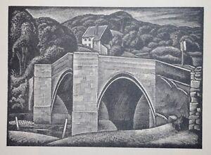 BARDEN BRIDGE,  YORKSHIRE DALES : 1952 Print of Woodblock / Woodcut by GREENWOOD