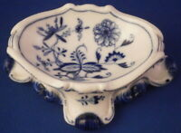 Antique Meissen Porcelain Blue Onion Open Salt Cellar Trencher Porzellan Saliere