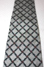 Bally Italian Made Men's Necktie 100% Silk White Geometric Design