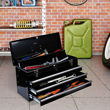 3-Drawer Tool Chest Box Storage Organizer Cabinet Portable w/ Handle Black