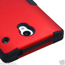 Sharp Aquos Crystal 306 Hybrid Multi-Layer Case Skin Cover Red/Black