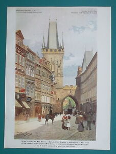 PRAGUE Czech Republic Charles Bridge from Mostecka Street - 1902 COLOR Print