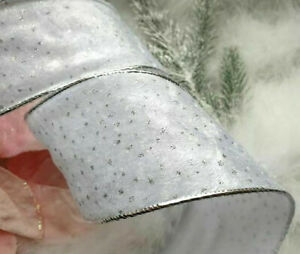 1m x 65mm Wired Christmas Ribbon  Velvet Plush  White with Silver Glitter Dots