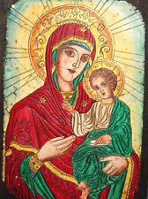 HAND MADE RELIEF ICON THE VIRGIN & JESUS CHILD
