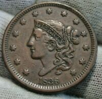 1838 Penny Coronet Large Cent 1C - Nice Coin, Free Shipping  (9910)
