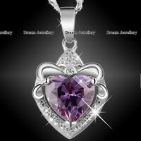 Love Heart Crystal Purple Pendant Necklace Xmas Gifts for Her Women Wife Girl Z1