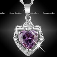 Purple Diamond King of Hearts Necklace Silver 925 Jewellery Xmas Gifts for Her