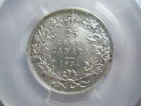 CANADA 25 cents 1934 PCGS AU 58 UNC