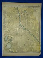 Vintage 1892 MINNEAPOLIS, MINNESOTA MAP Old Antique Original Atlas Map