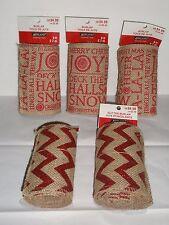 """BURLAP RIBBON LOT 5 Rolls Brand New Christmas 3 rolls 5"""" x 9' - 2 rolls 5"""" x 7'"""