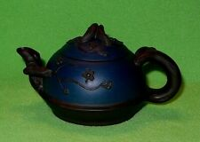 Vintage Chinese clay teapot w/ FLOWERING BRANCHES. Blue & black. 2 maker's marks